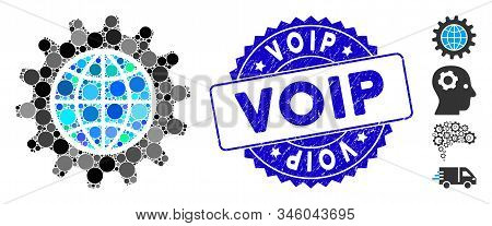 Collage Global Options Icon And Corroded Stamp Seal With Voip Text. Mosaic Vector Is Composed With G
