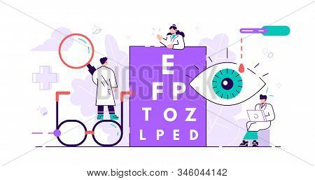 Ophthalmology Concept. Tiny Eyes Health Persons. Abstract Lens View Examination Checkup. Patient Myo