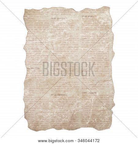Sheet Of Torn Newspaper Isolated On White Background. Old Grunge Newspapers Textured Paper. Newsprin