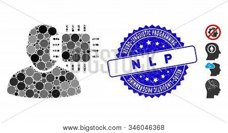 Mosaic Neuro Interface Icon And Corroded Stamp Seal With Neuro-linguistic Programming N L P Caption.