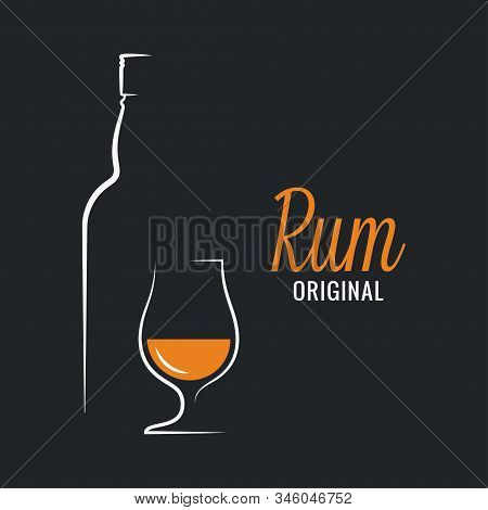 Rum Bottle With Rum Glass Logo On Black Background