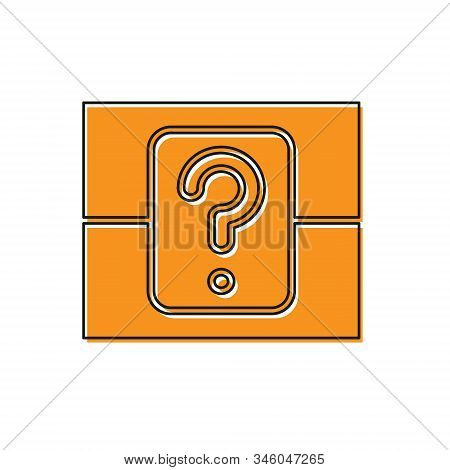 Orange Mystery Box Or Random Loot Box For Games Icon Isolated On White Background. Question Box. Vec
