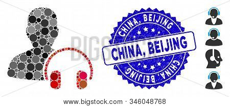 Mosaic Operator Icon And Rubber Stamp Watermark With China, Beijing Text. Mosaic Vector Is Created W