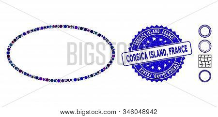 Mosaic Oval Frame Icon And Distressed Stamp Seal With Corsica Island, France Caption. Mosaic Vector