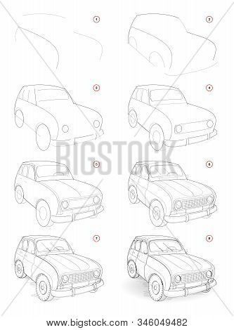How To Draw Step By Step Sketch Of Imaginary Cute Little Car. Creation Pencil Drawing. Educational P