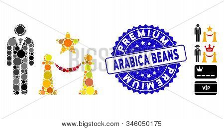 Mosaic Prestige Entarnce Icon And Distressed Stamp Seal With Premium Arabica Beans Text. Mosaic Vect