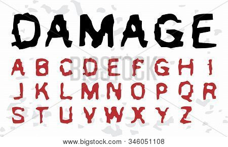 Damaged Handcrafted Grunge Typeface (vector Font). Scratched Typography.