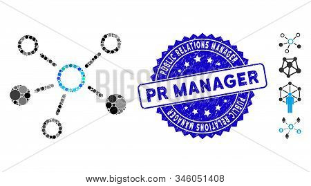Mosaic Relations Icon And Rubber Stamp Watermark With Public Relations Manager Pr Manager Text. Mosa