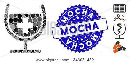 Mosaic Remedy Syrup Glass Icon And Distressed Stamp Seal With Mocha Caption. Mosaic Vector Is Design