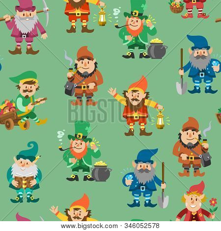 Fairy Tale Fantastic Gnome Seamless Pattern, Vector Illustration. Background With Dwarf Elf Characte