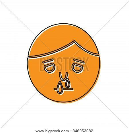 Orange Runny Nose Icon Isolated On White Background. Rhinitis Symptoms, Treatment. Nose And Sneezing
