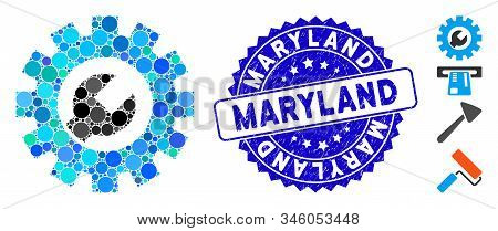 Mosaic Service Tools Icon And Grunge Stamp Seal With Maryland Phrase. Mosaic Vector Is Designed With
