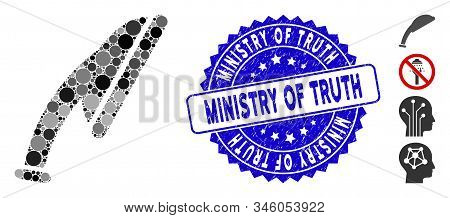 Mosaic Shower Head Icon And Grunge Stamp Watermark With Ministry Of Truth Text. Mosaic Vector Is For