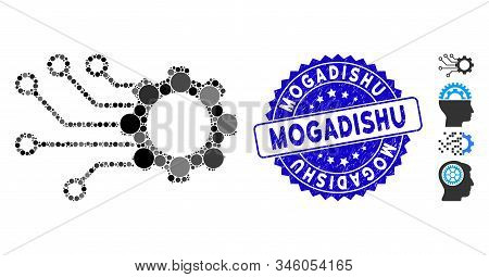 Mosaic Smart Gear Icon And Grunge Stamp Seal With Mogadishu Caption. Mosaic Vector Is Designed From