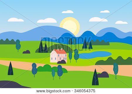 Summer Countryside Farm Landscape Green Hill. Cottage Nature Fields Mountains Blue Sky Clouds Sun Co