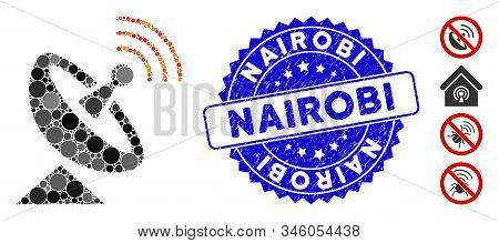 Mosaic Space Antenna Icon And Rubber Stamp Watermark With Nairobi Text. Mosaic Vector Is Composed Wi