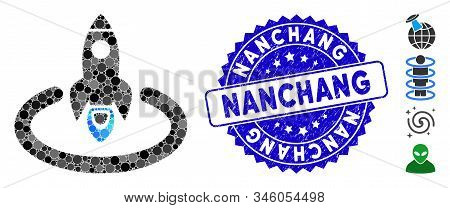Collage Space Rocket Launch Area Icon And Grunge Stamp Watermark With Nanchang Phrase. Mosaic Vector