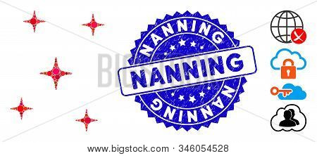 Mosaic Space Stars Icon And Grunge Stamp Watermark With Nanning Phrase. Mosaic Vector Is Formed From