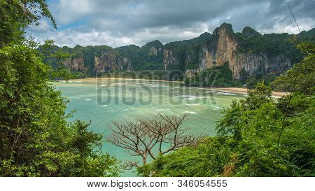 The Hat Tom Sai Beach At Railay Near Ao Nang, Krabi, Thailand.