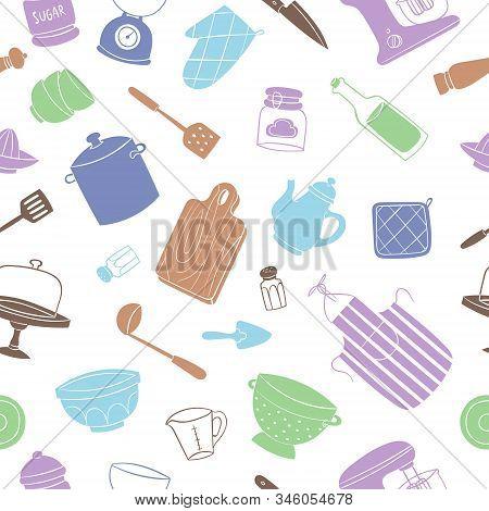 Kitchen Tools And Utensils Seamless Pattern Vector Illustration. Flat Design Cooking Utensils Isolat