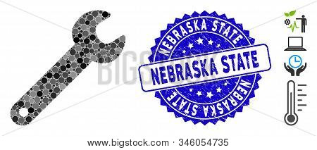 Mosaic Spanner Icon And Distressed Stamp Seal With Nebraska State Phrase. Mosaic Vector Is Created W