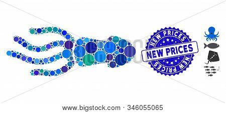 Mosaic Squid Icon And Distressed Stamp Seal With New Prices Phrase. Mosaic Vector Is Formed With Squ