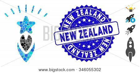 Mosaic Starting Star Icon And Corroded Stamp Seal With New Zealand Text. Mosaic Vector Is Formed Wit