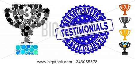 Collage Third Prize Cup Icon And Distressed Stamp Seal With Testimonials Text. Mosaic Vector Is Form