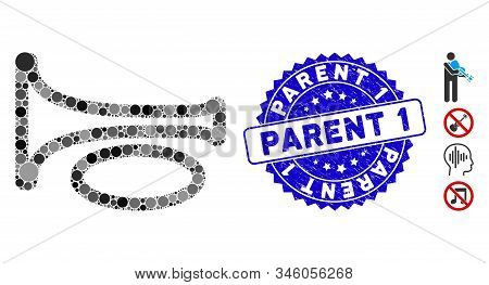 Mosaic Trombone Icon And Corroded Stamp Watermark With Parent 1 Text. Mosaic Vector Is Composed With
