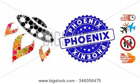 Collage Ufo Start Fire Icon And Rubber Stamp Seal With Phoenix Phrase. Mosaic Vector Is Created With
