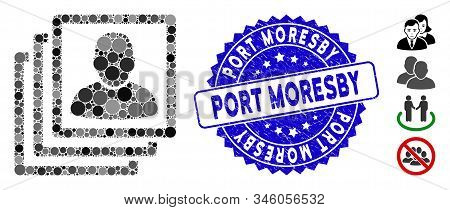Mosaic User Accounts Icon And Grunge Stamp Seal With Port Moresby Text. Mosaic Vector Is Created Wit