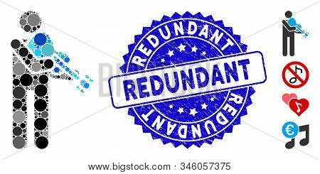 Mosaic Violinist Icon And Grunge Stamp Watermark With Redundant Caption. Mosaic Vector Is Created Wi
