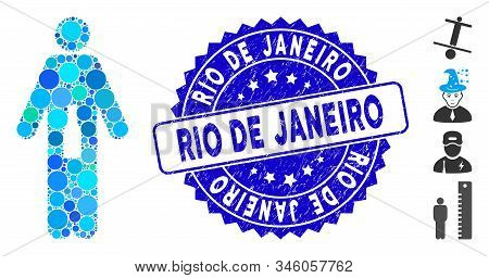 Mosaic Wc Man Icon And Rubber Stamp Seal With Rio De Janeiro Phrase. Mosaic Vector Is Formed With Wc