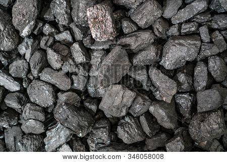 Char-coal. Pattern, Heap. Pile Of Bituminous Coal Cinder. Stone Coal Industry, Business. Black Coal