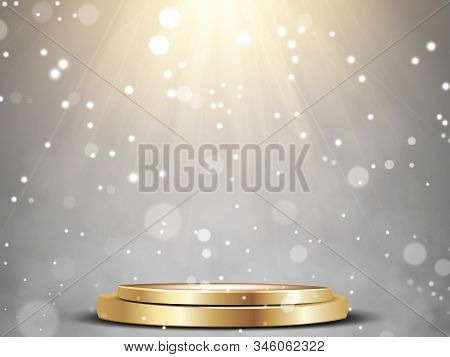 Round Podium, Pedestal Or Platform Illuminated By Spotlights On White Background. Stage With Scenic