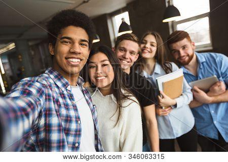 Group Selfie Of Happy International College Students, Having Break During Classes