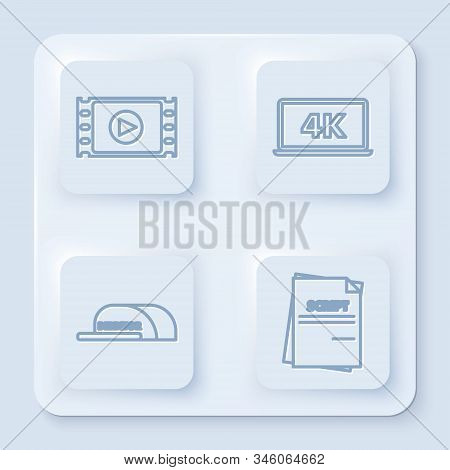 Set line Play Video , Laptop screen with 4k video technology , Cap with inscription director and Scenario . White square button. Vector poster