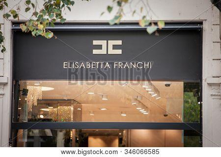 Prague - Czechia - November 1, 2019: Elisabetta Franchi Logo In Front Of Their Boutique For Prague.