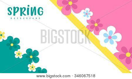 Spring Background Illustration Vector. Flat Flowers Of Spring Background