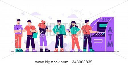 Queue At The Atm. Business Woman And Man Are Standing In Line. Vector Illustration, Perform Financia