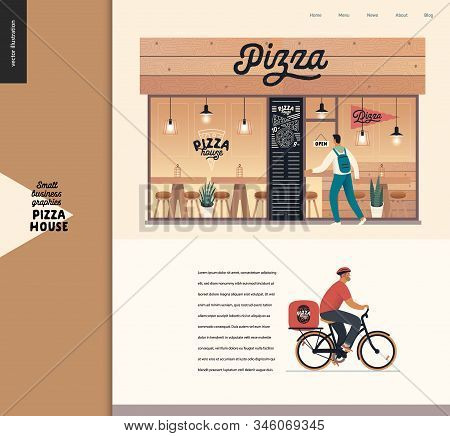 Pizza House - Small Business Graphics - Landing Page Design Template. Modern Flat Vector Concept Ill