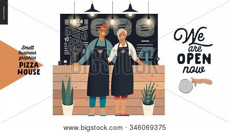 Pizza House -small Business Graphics -owners. Modern Flat Vector Concept Illustrations - Man And Wom
