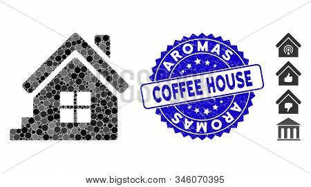 Mosaic House Porch Icon And Distressed Stamp Seal With Aromas Coffee House Phrase. Mosaic Vector Is