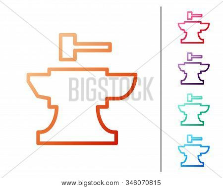 Red Line Anvil For Blacksmithing And Hammer Icon Isolated On White Background. Metal Forging. Forge