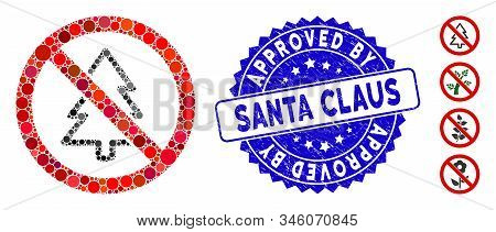 Mosaic No Fir-tree Icon And Corroded Stamp Seal With Approved By Santa Claus Caption. Mosaic Vector