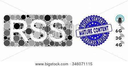 Mosaic Rss Icon And Distressed Stamp Seal With Mature Content Phrase. Mosaic Vector Is Composed With