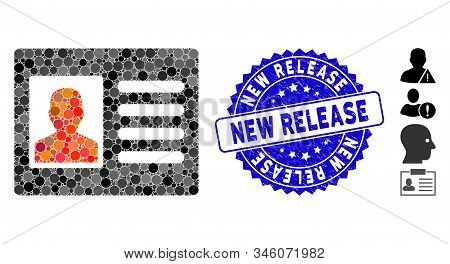 Mosaic Patient Account Icon And Corroded Stamp Watermark With New Release Phrase. Mosaic Vector Is F
