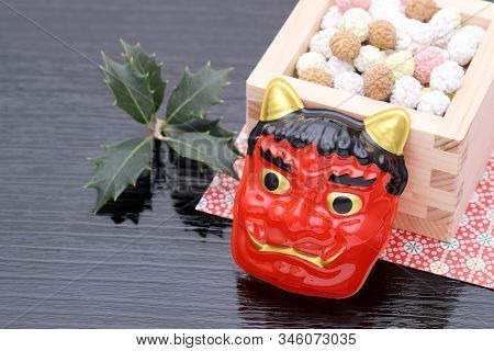 Japanese Traditional Setsubun Event, Masks Of Oni Demon And Soybeans Are Used On An Annual Event