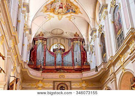 Munich, Germany - May 24, 2019: The Organ Loft Inside The Peterskirche (peters Church) With Baroque