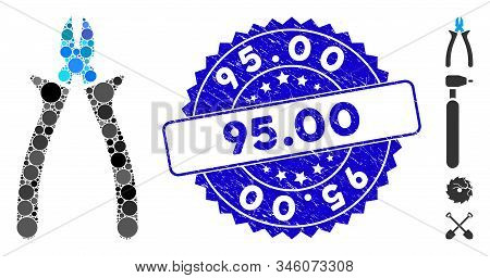 Mosaic Nippers Icon And Grunge Stamp Seal With 95.00 Caption. Mosaic Vector Is Composed With Nippers
